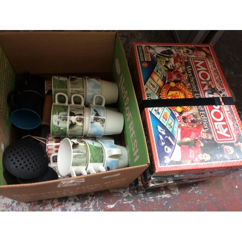 274 - A BOX CONTAINING CHINA CUPS ETC. AND FOUR MONOPOLY FOOTBALL EDITION BOARD GAMES...