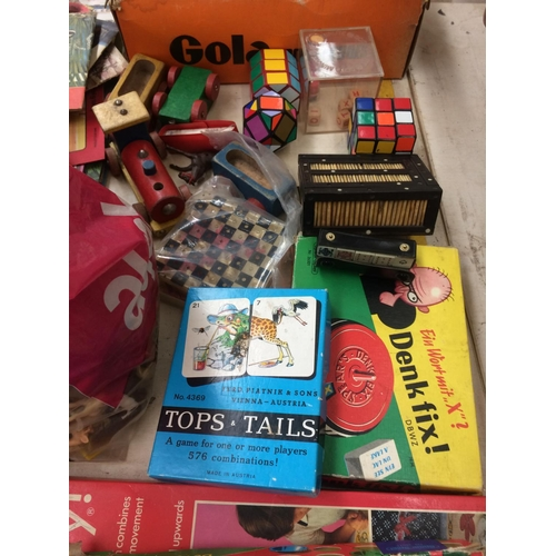 279 - A LARGE COLLECTION OF TOYS AND GAMES TO INCLUDE TIDDLYWINKS, CHESS SET, PLAYING CARDS, RUBIK'S CUBE ...