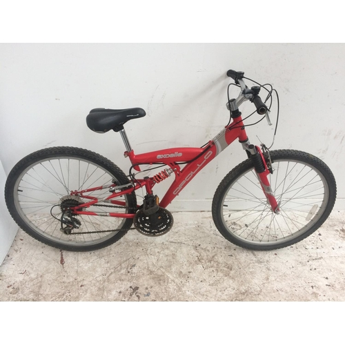 3 - A RED APOLLO EXCELLE DUAL SUSPENSION GENT'S MOUNTAIN BIKE WITH QUICK RELEASE FRONT WHEEL AND 18 SPEE...