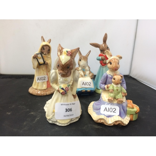 306 - FOUR ROYAL DOULTON BUNNYKINS FIGURINES AND A ROYAL ALBERT FIGURINE...