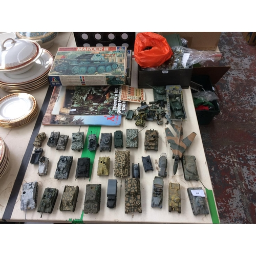 314 - A COLLECTION OF MODEL MILITARY VEHICLES TO INCLUDE TANKS, PLANES ETC...