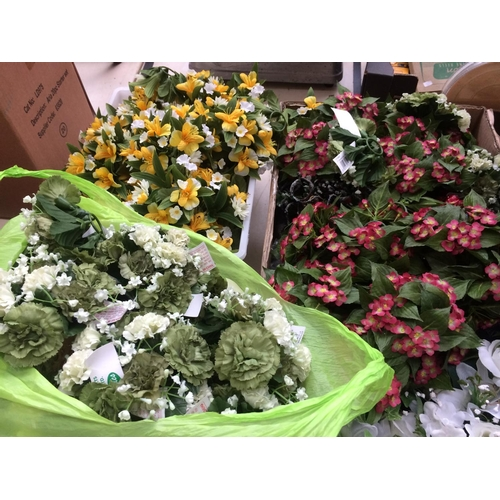 321 - FIVE BOXES AND BAGS CONTAINING ARTIFICIAL FLOWERS...