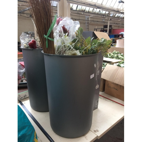 322 - TWO BUCKETS AND ONE BOX CONTAINING ARTIFICIAL FLOWERS...