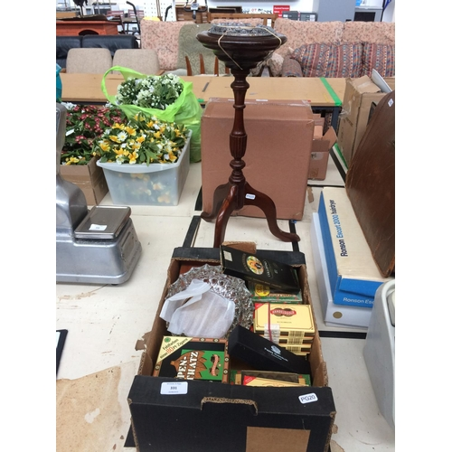 331 - A LARGE COLLECTION OF BOXED CIGARS AND A MAHOGANY FREE STANDING TRIPOD ASHTRAY...