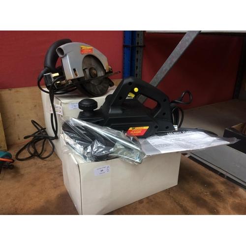 34 - TWO BOXED ITEMS TO INCLUDE A DP TOOLS MAINS ELECTRIC HANDHELD CIRCULAR SAW AND A MATCHING ELECTRIC P...