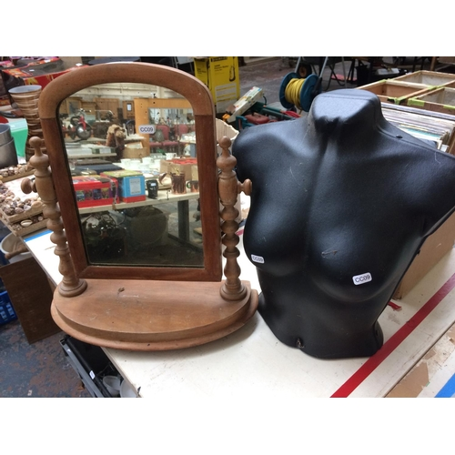 344 - A BLACK MANNEQUIN TORSO AND A PINE TOILET MIRROR...