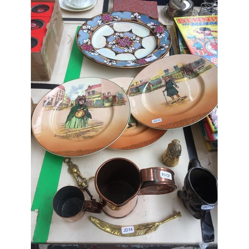 354 - A COLLECTION OF MIXED ITEMS TO INCLUDE THREE ROYAL DOULTON DICKENS WARE COLLECTORS PLATES, TWO PIECE...