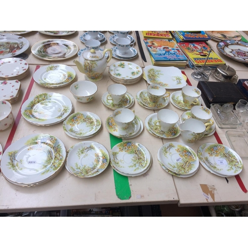 360 - A RARE FORTY FOUR PIECE SHELLEY DAFFODIL TIME TEA SET...