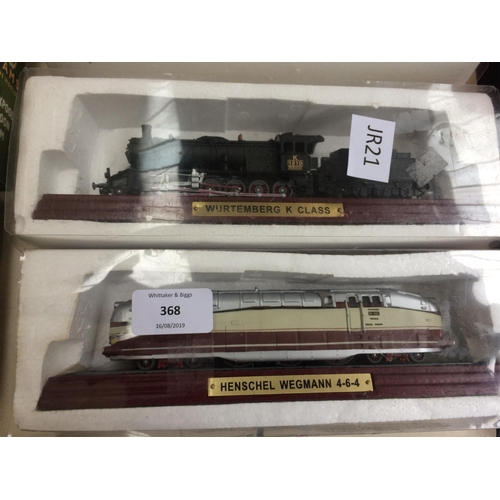 368 - SIX MODEL BLACKPOOL BALLOON TRAMS, SEVEN BOXED MODEL STEAM ENGINES AND FOUR COLLECTORS PLATES...