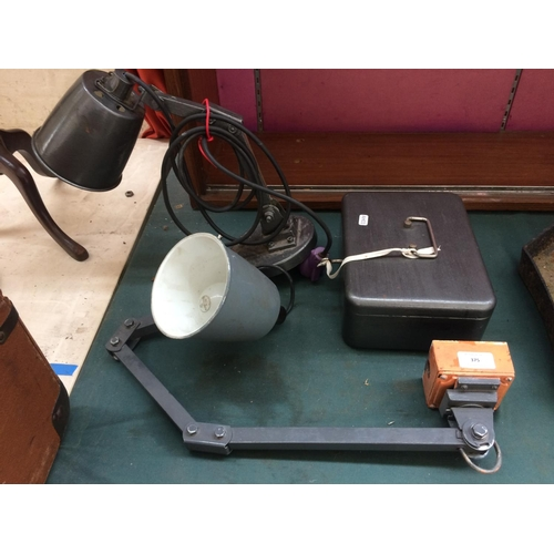 375 - TWO VINTAGE INDUSTRIAL MEMLITE DESK LAMPS AND A CASH TIN...