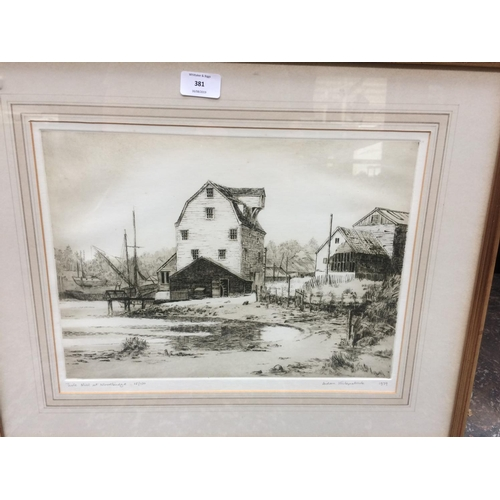 381 - A FRAMED 1979 LIMITED EDITION 18 OF 100 STEEL ENGRAVING TITLED 'TIDE MILL AT WOODBRIDGE' BY AIDAN KI...
