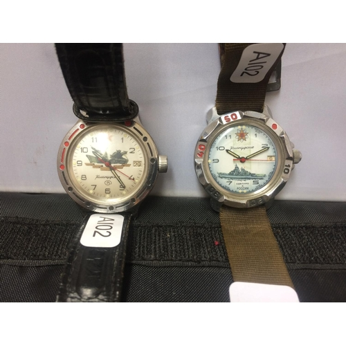 388 - TWO VINTAGE RUSSIAN WATCHES WITH ORIGINAL STRAPS...