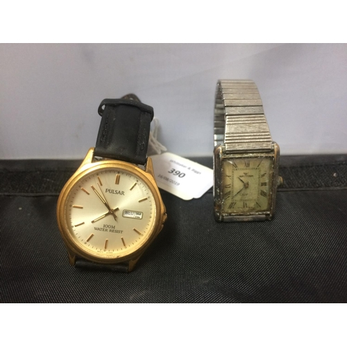 390 - TWO GENTS WATCHES TO INCLUDE PULSAR AND WALTHAM...
