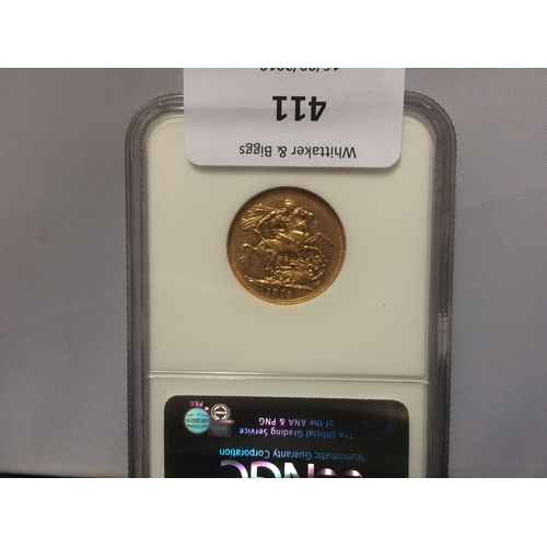 411 - AN 1879 VICTORIA MELBOURNE MINT GOLD FULL SOVEREIGN...