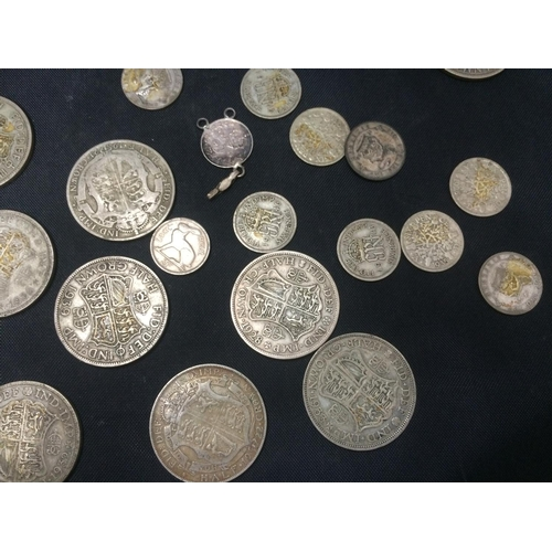 417 - APPROX 40 SILVER COINS TO INCLUDE 20 1/2 CROWNS AND 20 SIXPENCES...