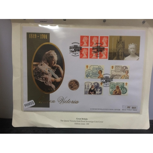 419 - A QUEEN VICTORIA COMMEMORATIVE COIN COVER 2001 GOLD FULL SOVEREIGN - LIMITED EDITION OF 500...