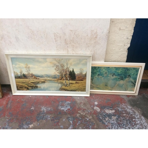 425 - TWO VINTAGE 1970'S PRINTS TO INCLUDE ONE OF A MOUNTAIN VIEW AND ONE OF BALLERINAS...