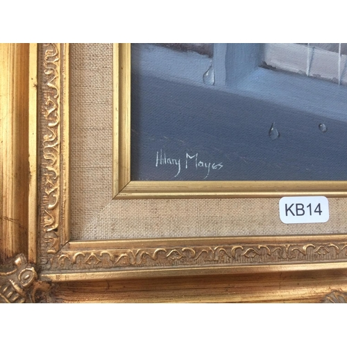 426 - A GILT FRAMED OIL ON CANVAS OF A KITTEN SIGNED HILARY MAYES...