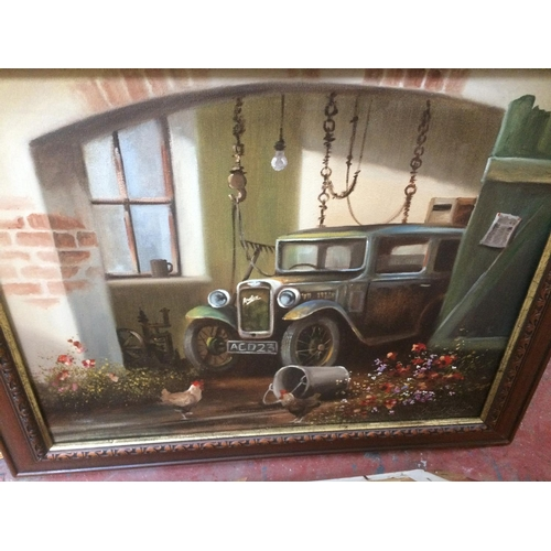 427 - SEVEN VARIOUS PICTURES TO INCLUDE FOUR GILT FRAMED PRINTS, MAHOGANY FRAMED CAR PRINT ETC...
