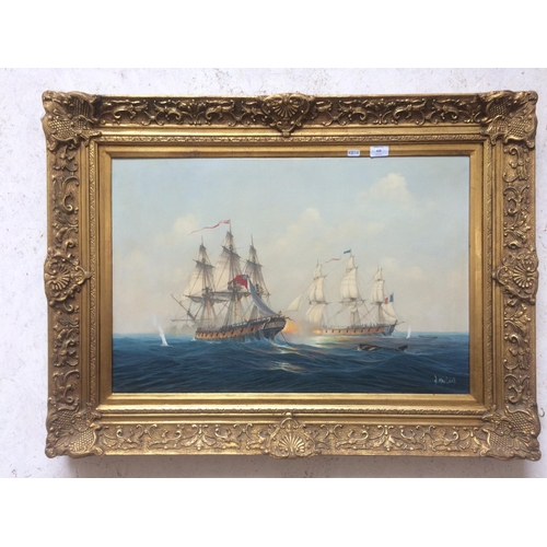 428 - A LARGE ORNATE GILT FRAMED OIL ON CANVAS OF HMS ENDYMION AND BACCHANTE FIGHTING AT SAIL IN THE YEAR ...