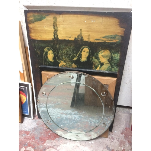 430 - ELEVEN VARIOUS MIRRORS AND PICTURES TO INCLUDE THREE MIRRORS, OIL ON BOARD OF CHILDREN, A TILED TOP ...