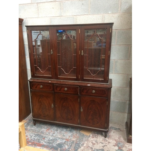 436 - A MAHOGANY DRESSER WITH THREE UPPER GLAZED DOORS, THREE DRAWERS AND THREE LOWER DOORS...