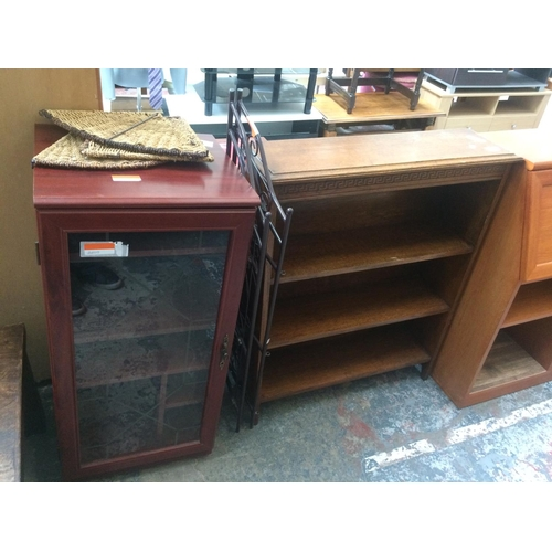 441 - THREE ITEMS TO INCLUDE AN OAK BOOKCASE WITH THREE SHELVES, MAHOGANY EFFECT STEREO CABINET AND A WROU...