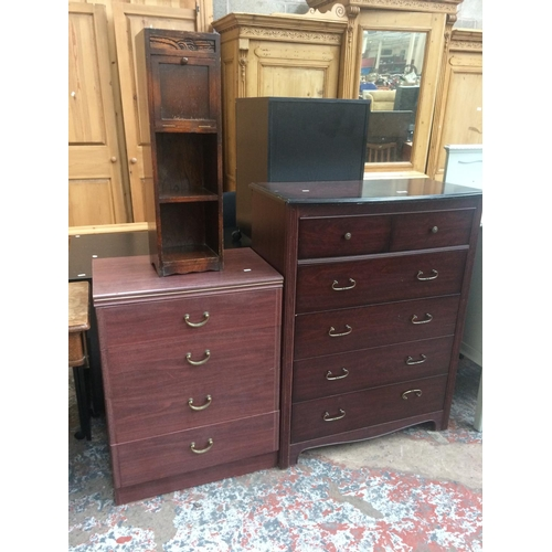454 - THREE ITEMS TO INCLUDE A CHERRY WOOD EFFECT CHEST OF TWO SHORT OVER FOUR LONG DRAWERS, A CHERRY WOOD...