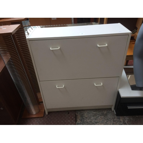 460 - A WHITE LAMINATE TWO DRAWER SHOE STORE...