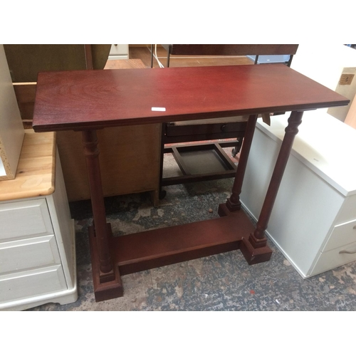 464 - A MAHOGANY EFFECT CONSOLE TABLE...