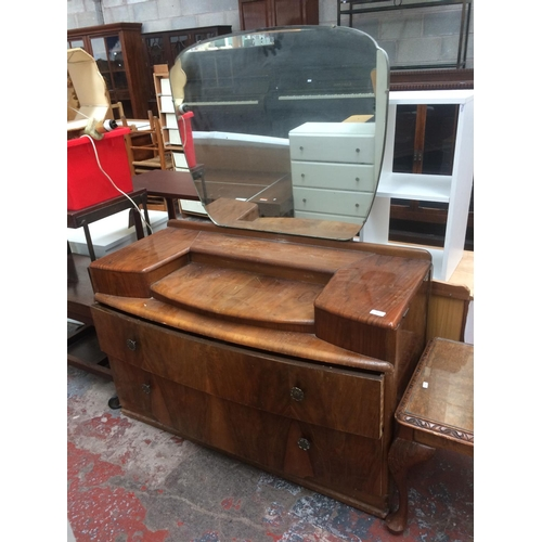 468 - A VINTAGE BURR WALNUT DRESSING TABLE WITH TWO DRAWERS AND UPPER MIRROR...