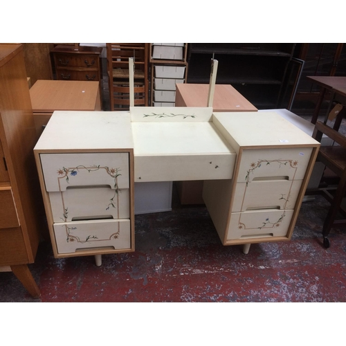 470 - A PAINTED DRESSING TABLE WITH SEVEN DRAWERS (MATCHES LOT 433)...