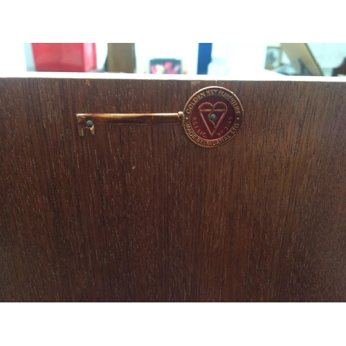 471 - A VINTAGE MID-CENTURY GOLDEN KEY FURNITURE BY PALATIAL BLONDE VENEER TALL BOY WITH TWO DOORS AND TWO...