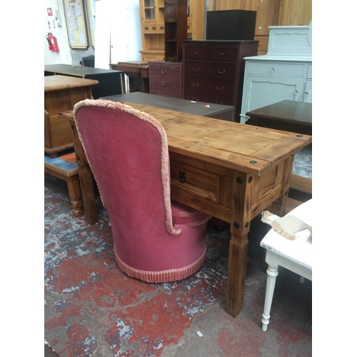 474 - TWO ITEMS TO INCLUDE A MEXICAN PINE CONSOLE TABLE WITH TWO DRAWERS AND A VINTAGE PINK DRALON BEDROOM...