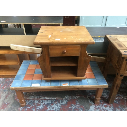 475 - TWO ITEMS TO INCLUDE A PINE MAGAZINE RACK TABLE AND A TILE TOP RECTANGULAR COFFEE TABLE...