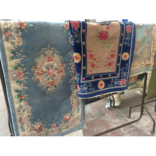 484 - THREE VARIOUS VINTAGE THICK RUGS...