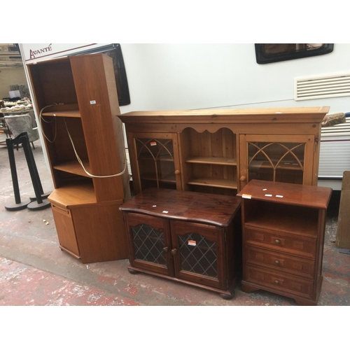 491 - FOUR ITEMS TO INCLUDE A STAINED PINE TV CABINET, MAHOGANY CHEST OF THREE DRAWERS, PINE DRESSER TOP W...