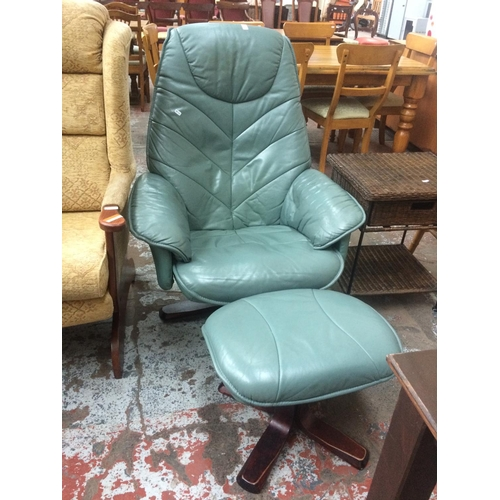 504C - A STRESSLESS STYLE GREEN LEATHER ARMCHAIR AND FOOTSTOOL...