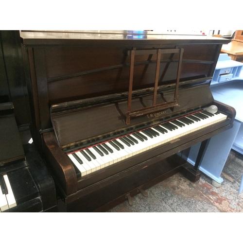 507 - A VINCENT OF LONDON MAHOGANY UPRIGHT PIANO...