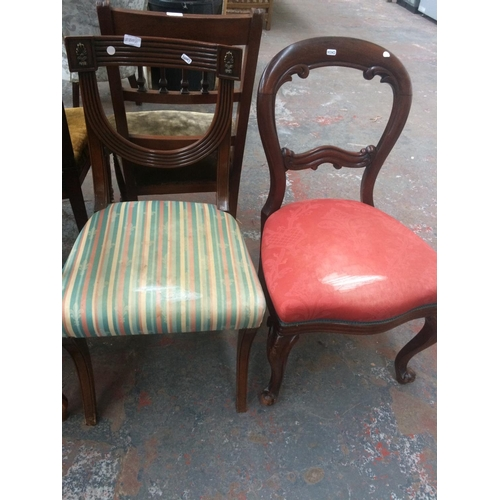 530A - TWO CHAIRS TO INCLUDE A MAHOGANY FRAMED CHAIR WITH REGENCY STRIPE UPHOLSTERY AND A MAHOGANY BALLOON ...