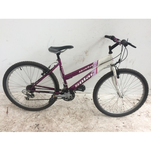 6 - A PURPLE AND WHITE GALA SOLAR LADIES MOUNTAIN BIKE WITH 18 SPEED SHIMANO GEAR SYSTEM...