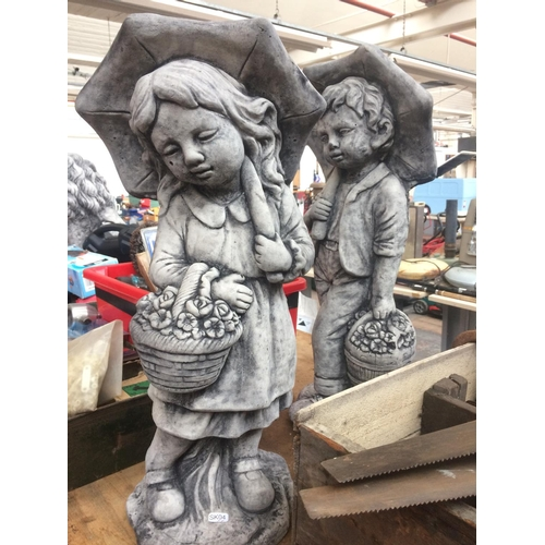 81 - TWO GOOD QUALITY RECONSTITUTED STONE GARDEN ORNAMENTS TO INCLUDE A BOY AND GIRL BOTH CARRYING FLOWER...