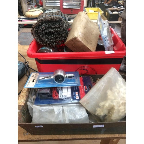 82 - TWO BOXES CONTAINING NAILS, SCREWS, BOLTS, THREE LEVER MORTICE LOCK ETC...