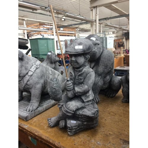 90 - A GOOD QUALITY RECONSTITUTED STONE BOY FISHING GARDEN ORNAMENT...
