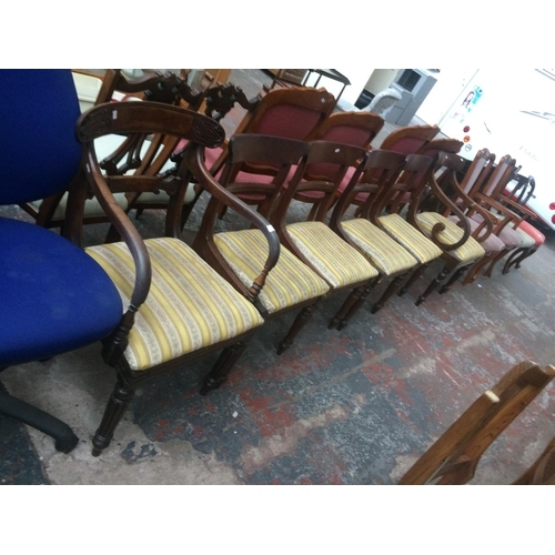 529 - FOUR MATCHING VICTORIAN MAHOGANY DINING CHAIRS WITH YELLOW REGENCY STRIPE UPHOLSTERY AND TWO MATCHIN...