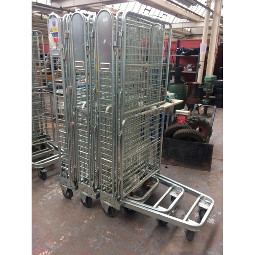 143 - THREE FOLDING WAGON OR WAREHOUSE TRANSPORTATION CAGES...