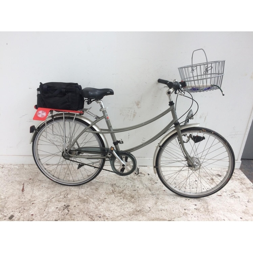 1 - A PASHLEY GREY LADIES TOWN BIKE WITH FRONT SHOPPING BASKET, REAR CARRIER, DYNAMO LIGHTS AND 3 SPEED ...