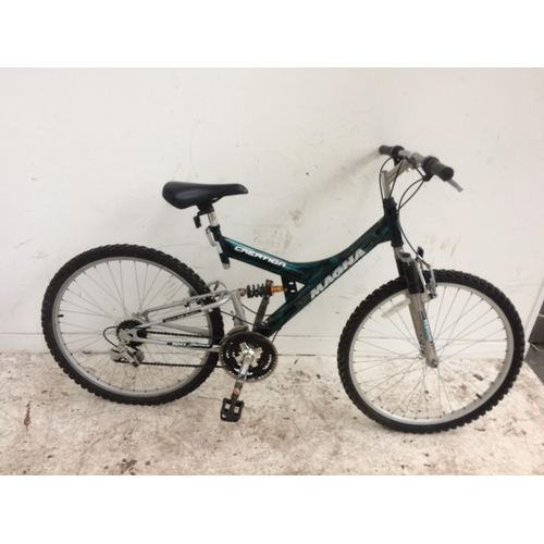 1 - A BLACK AND GREEN MAGNA CREATION DUAL SUSPENSION GENT'S MOUNTAIN BIKE WITH 15 SPEED INDEX GEAR SYSTE...