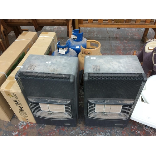 14 - FIVE ITEMS TO INCLUDE TWO GREY SUPERSER PORTABLE GAS HEATERS AND THREE GAS BOTTLES...