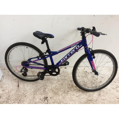 3 - A BLUE CARRERA SARUNA BOY'S MOUNTAIN BIKE WITH QUICK RELEASE WHEELS AND 7 SPEED SHIMANO GEAR SYSTEM...